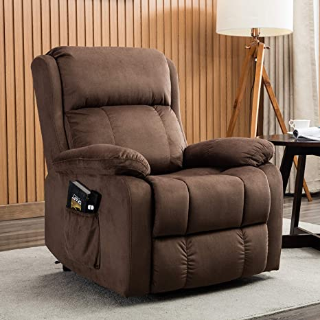 ANJ Power Lift Recliner Chair for Elderly with Remote Control, Heavy Duty  Reclining Sofa Soft Fabric Living Room Chair with Plush Padding Seat Brown