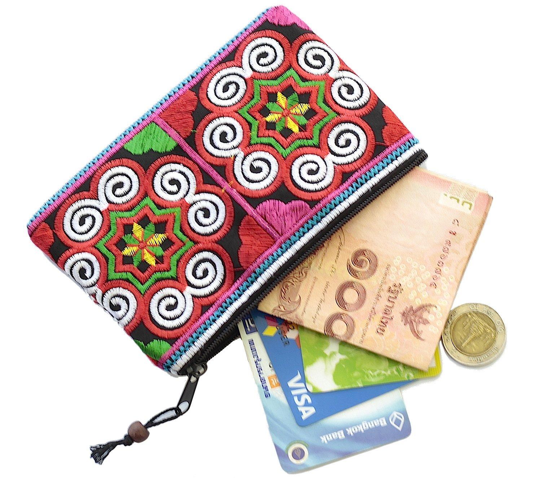 Sabai Jai Coin Purse Handmade Embroidered Bag Ethnic Boho Zipper Change Pouch (MultiColor)