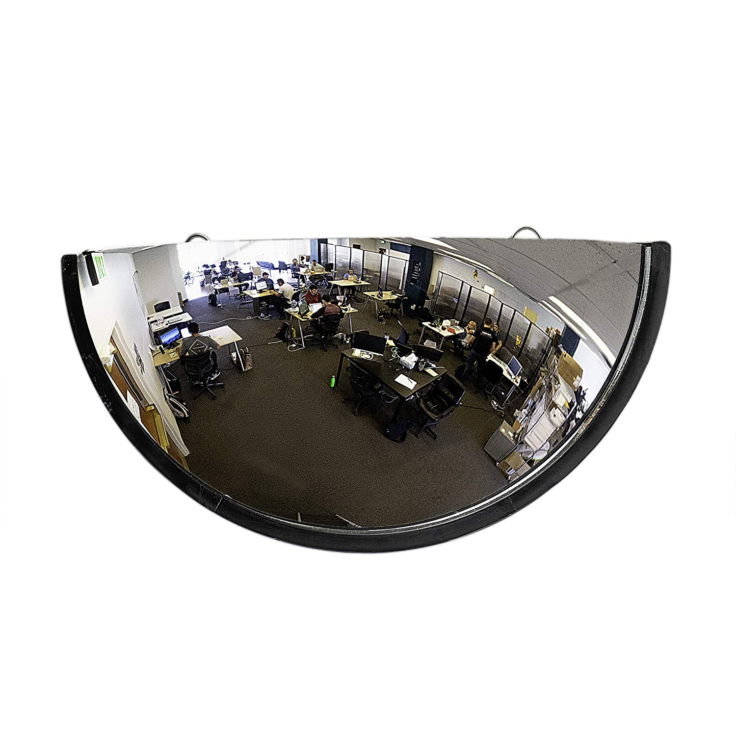 "18"" Acrylic Bubble Half Dome Mirror with Black Rim, Round Indoor Security Mirror for Driveway Safety Spots, Outdoor Warehouse Side View, Circular Wall Mirror for Office Use - Vision Metalizers"