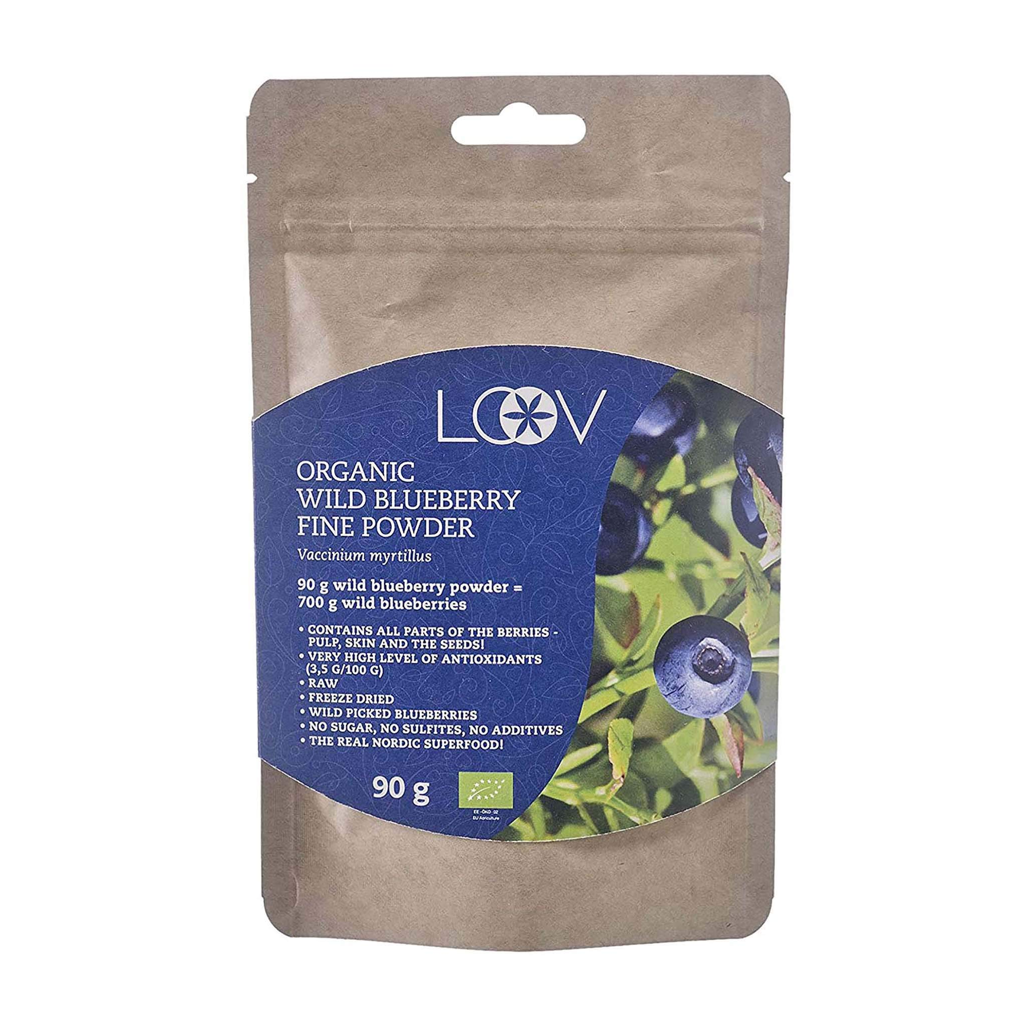 LOOV Wild Blueberry Powder Organic, Wild-Crafted from Nordic Forests, 100% Whole Fruit Bilberry, 90 g, Freeze-Dried and Powdered Blueberries, no Added Sugar