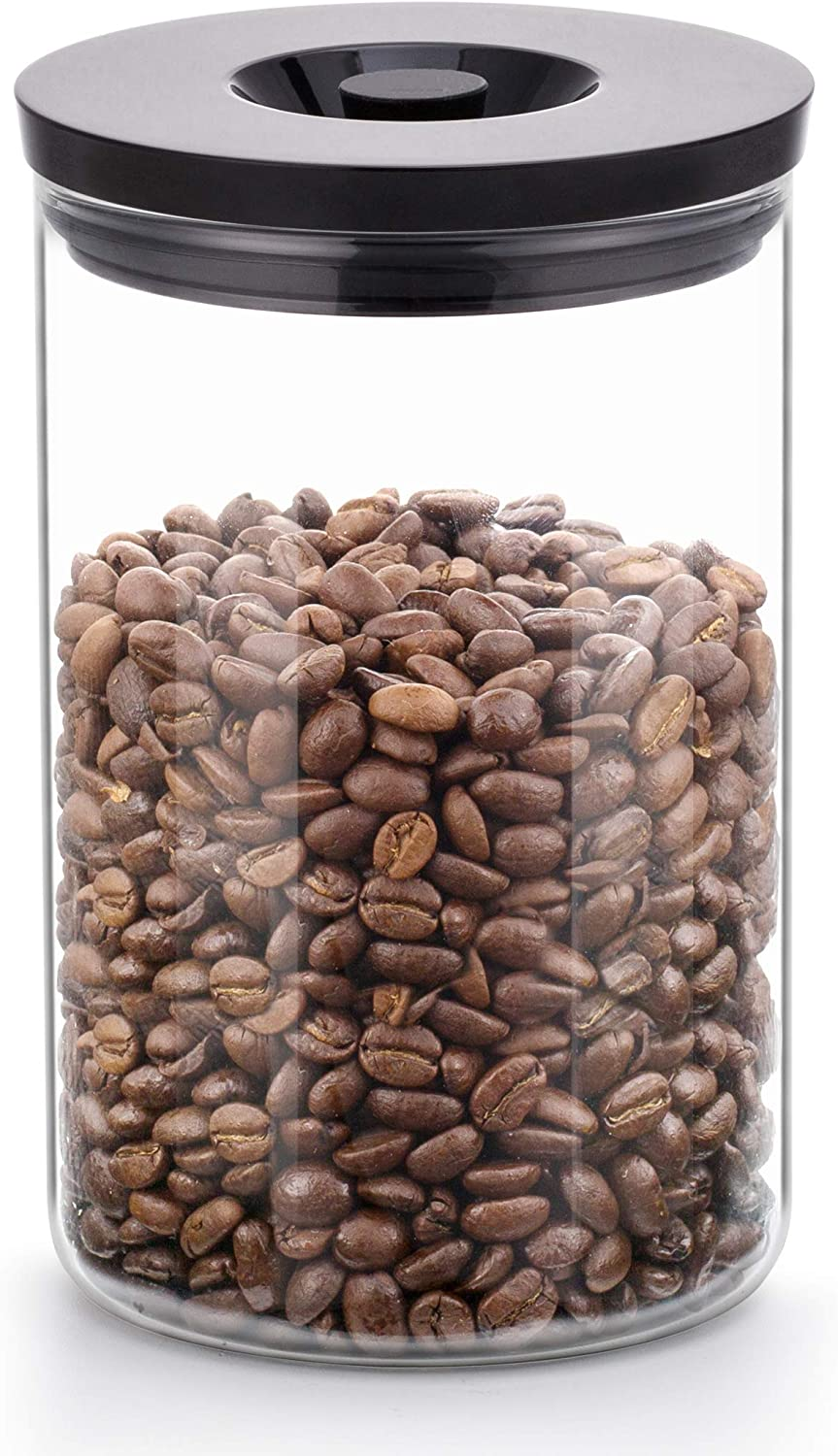 SAKI Large Coffee Canister 34 Oz (1000 mL) Glass Container for Ground, Whole Beans - Food Grade Lid with Airtight Rubber Seal - Storage Jar with CO2 Exhaust Button for Home, Pantry, Office