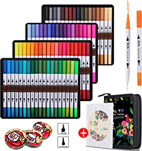 ZSCM 72 Colors Dual Brush Pens Art Markers, Artist Fine Brush Tip Coloring Pens Markers for Adult Coloring Books, Kids Drawing Christmas Painting Bullet Journaling Note Taking School Supplies