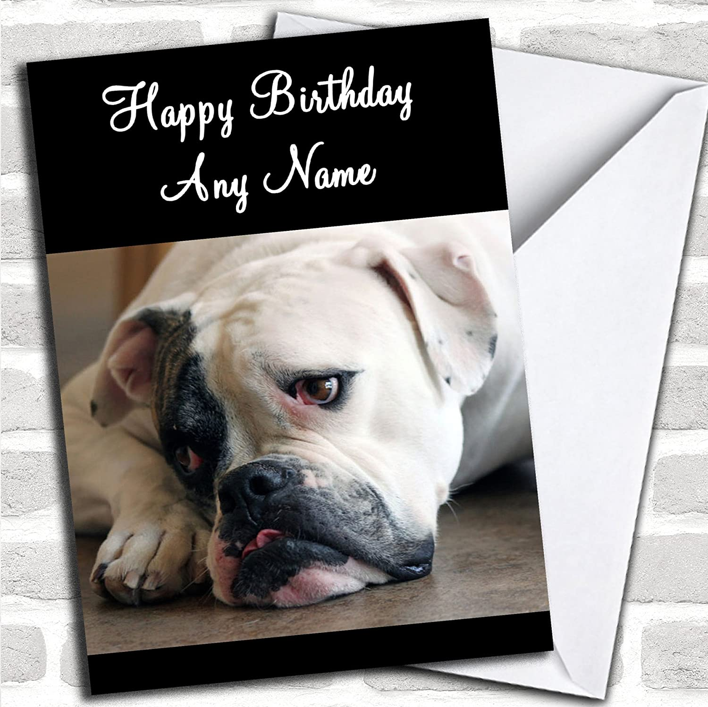 Personalised birthday card British Bulldog mum sister daughter granddaughter son
