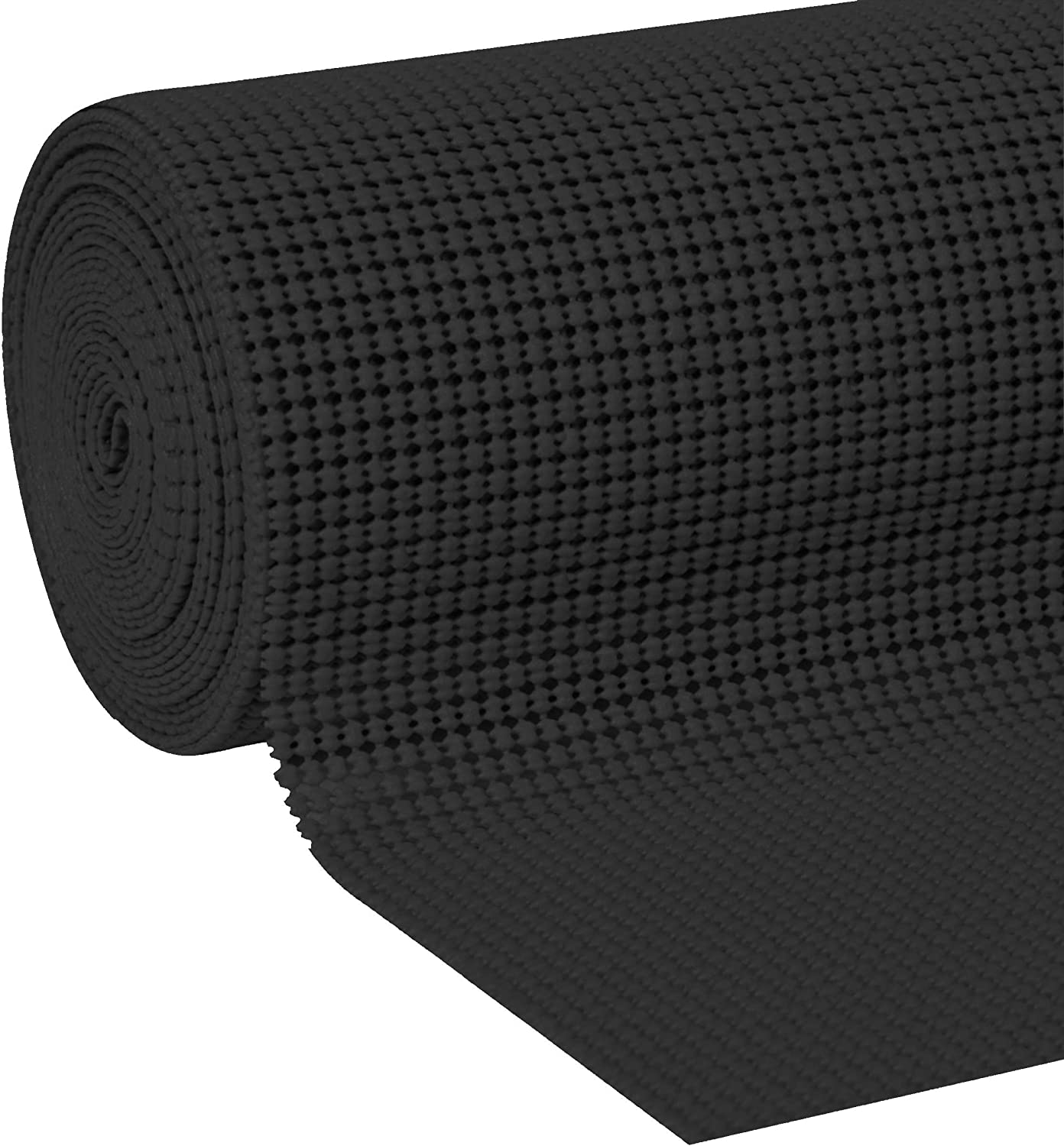 """KOLOX Premium Drawer and Shelf Liner, Non Adhesive, Strong and Durable, for Shelves, Drawers, Cabinets, Kitchen, Storage and Desks and More (Black, 17.5"""" x 10')"""