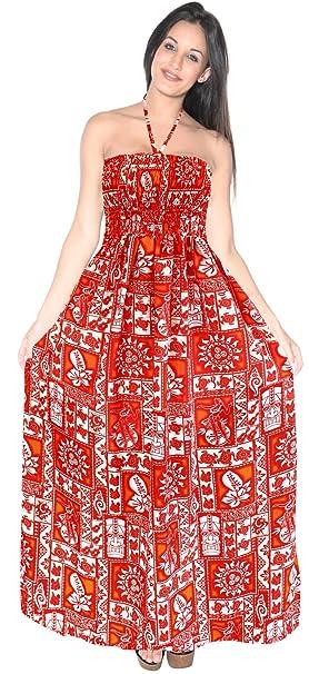 LA LEELA Women\'s Plus Size Summer Beach Casual Dress Swimwear Cover Up  Printed A