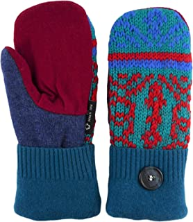 product image for Jack & Mary Designs Handmade Womens Fleece-Lined Wool Mittens, Made from Recycled Sweaters in the USA (Blue/Red/Orange, Regular)