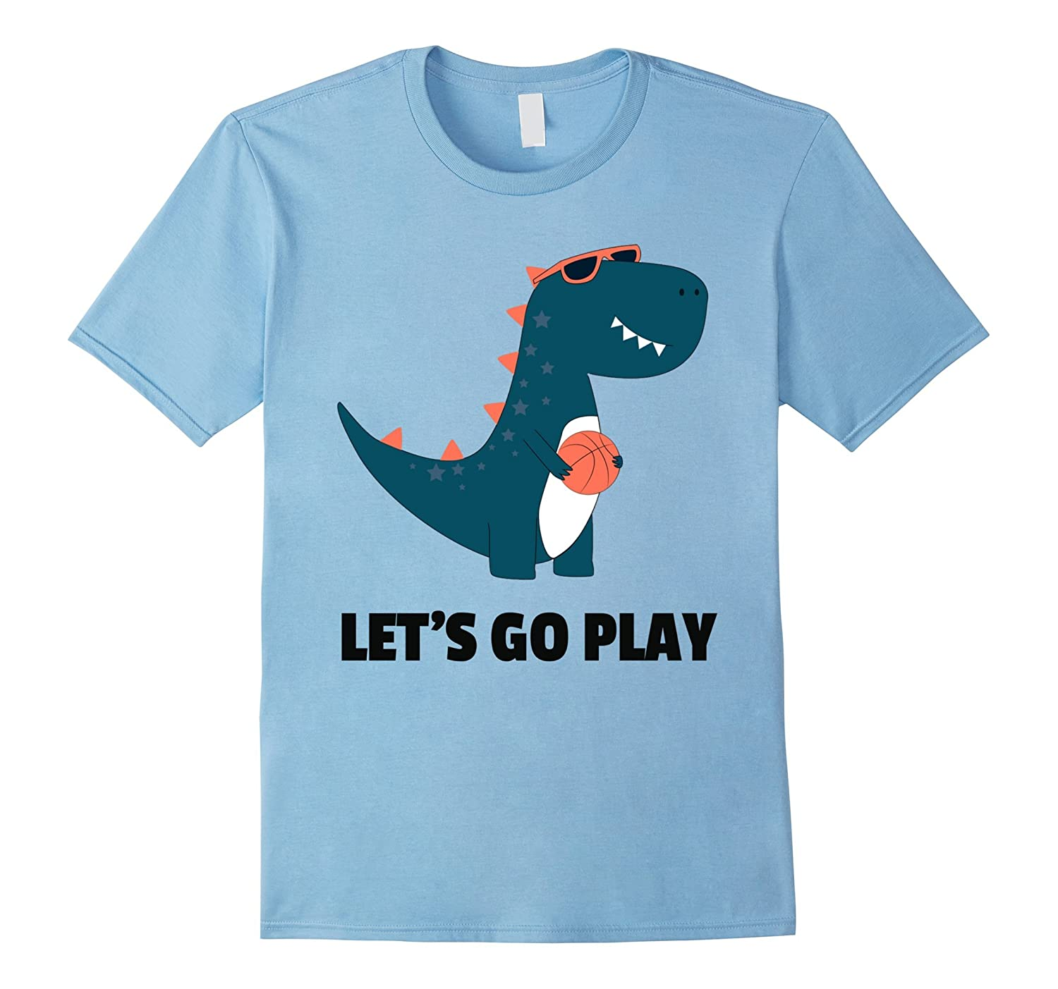 Cute Dinosaur Wearing Sunglasses Let's Go Play Ball T-Shirt-FL