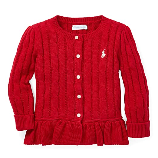 special selection of uk availability san francisco Amazon.com: Ralph Lauren Polo Cable Cotton Peplum Cardigan ...