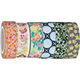 Washi Tape | Evermae Design Co. -- Colorful Floral Premium Japanese Washi Tape, Set of 6 Rolls