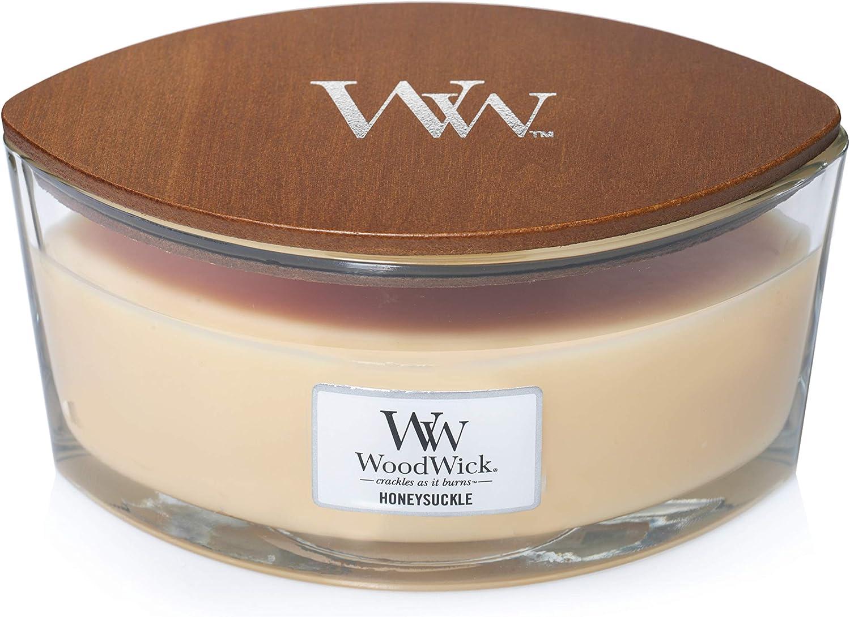 WoodWick Honeysuckle in Glass Jar, Yellow, Large, 16 oz