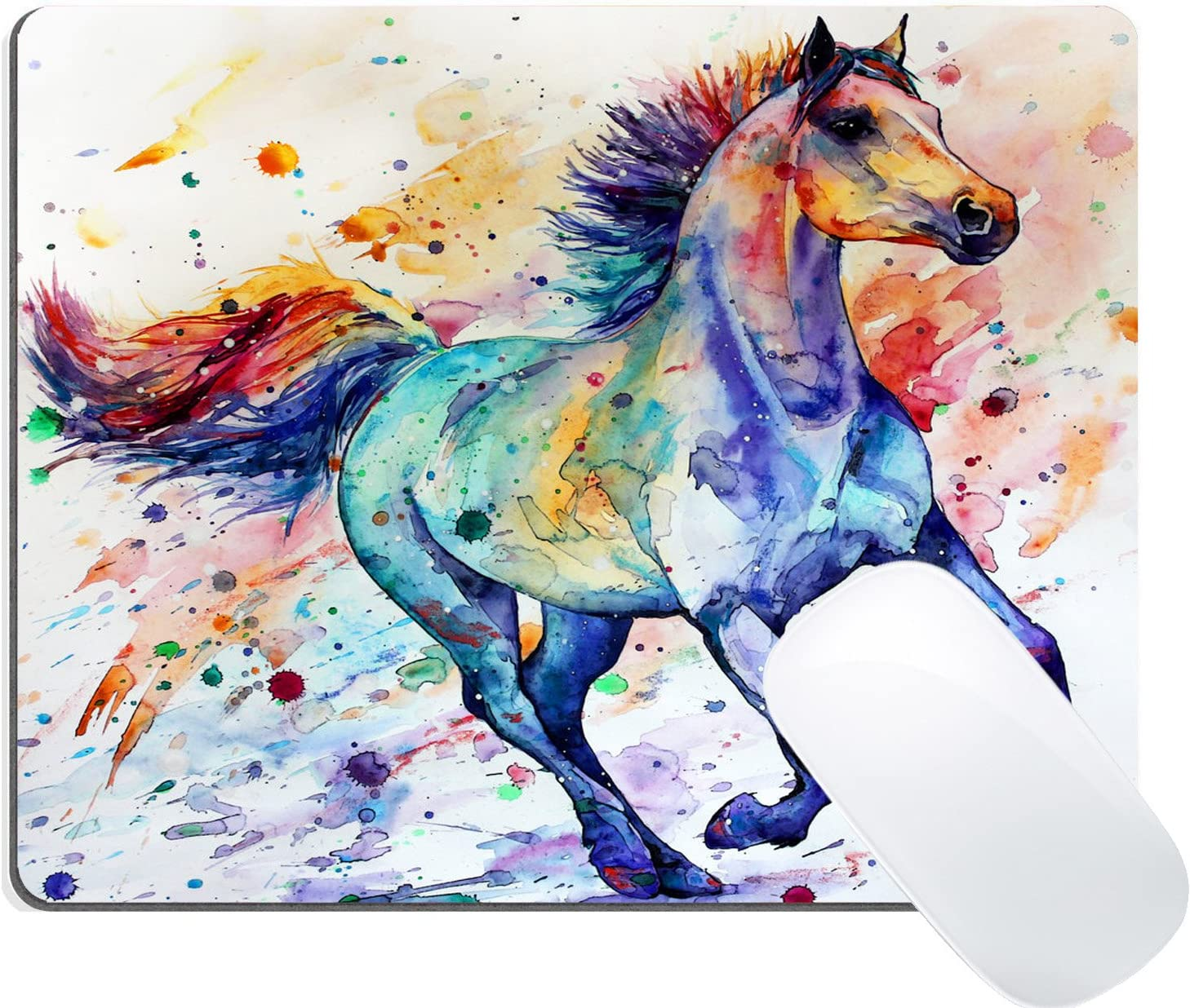 Watercolor Running Horse Painting Art Wknoon Gaming Mouse Pad Custom Design Mat