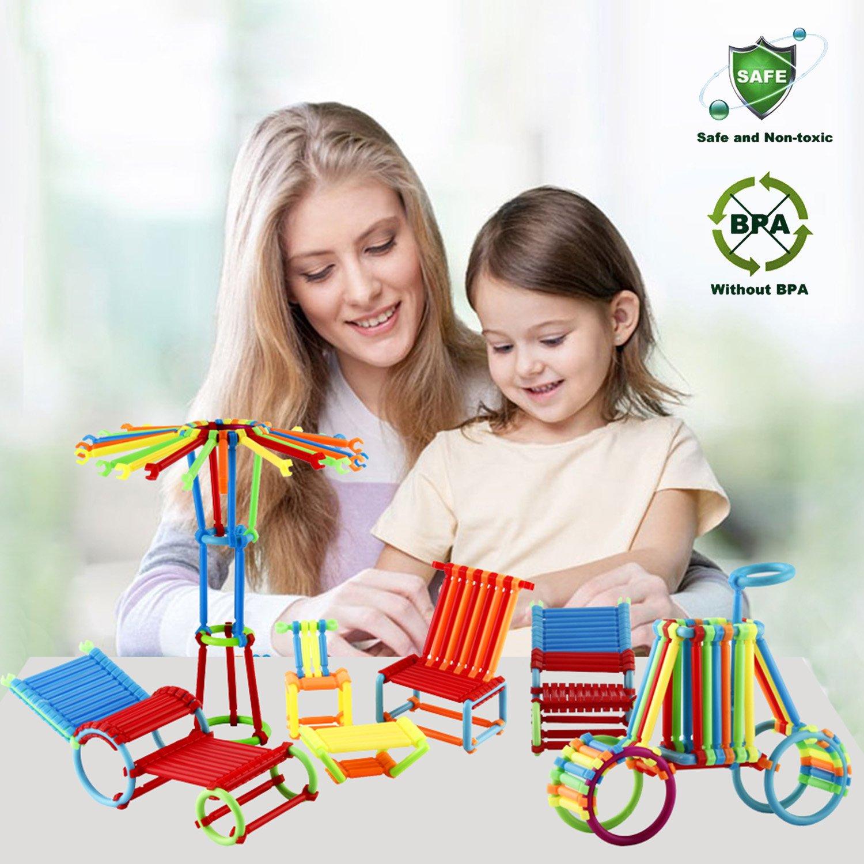 480 Pieces - Elongdi Sticks Building Blocks Kids Educational Toys Stacking Toys Set, Interlocking Building Set, Non-Toxic Clip Connect Building Construction Toy Blocks Stem Toys with a Plastic Bag