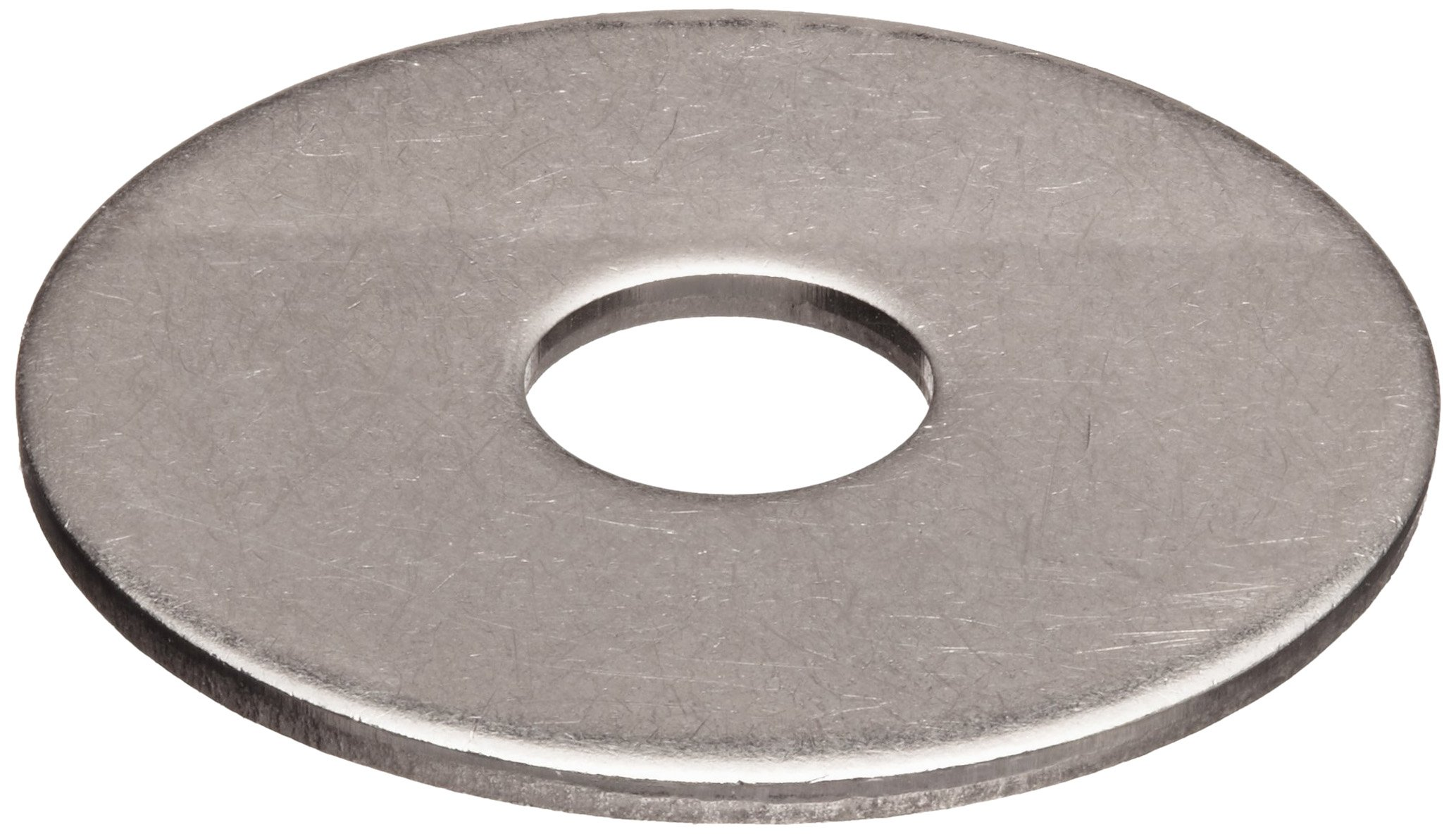 18-8 Stainless Steel Flat Washer, 1/4'' Hole Size, 0.281'' ID, 2'' OD, 0.062'' Nominal Thickness, Made in US (Pack of 10)