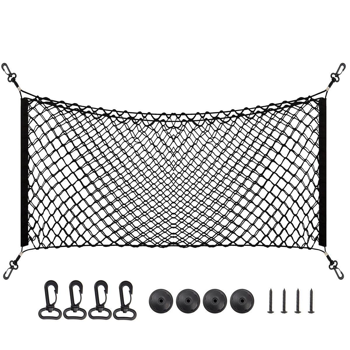 109, 2 x 45, 7 cm Groß er Rumpf Storage Net Organizer –  Schwarz Flexibler Hä ngematte Cargo Net mit 2 installationsmö glichkeiten fü r Car SUV GMC –  Universal PAMASE 4332990283