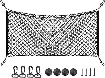 """PAMASE 43"""" x 17.5"""" Large Adjustable Elastic Envelope Cargo Net for Toyota Tacoma SUV GMC Yukon, Black Flexible Car Trunk Storage Organizer Net with 2 Installation Options - XL"""