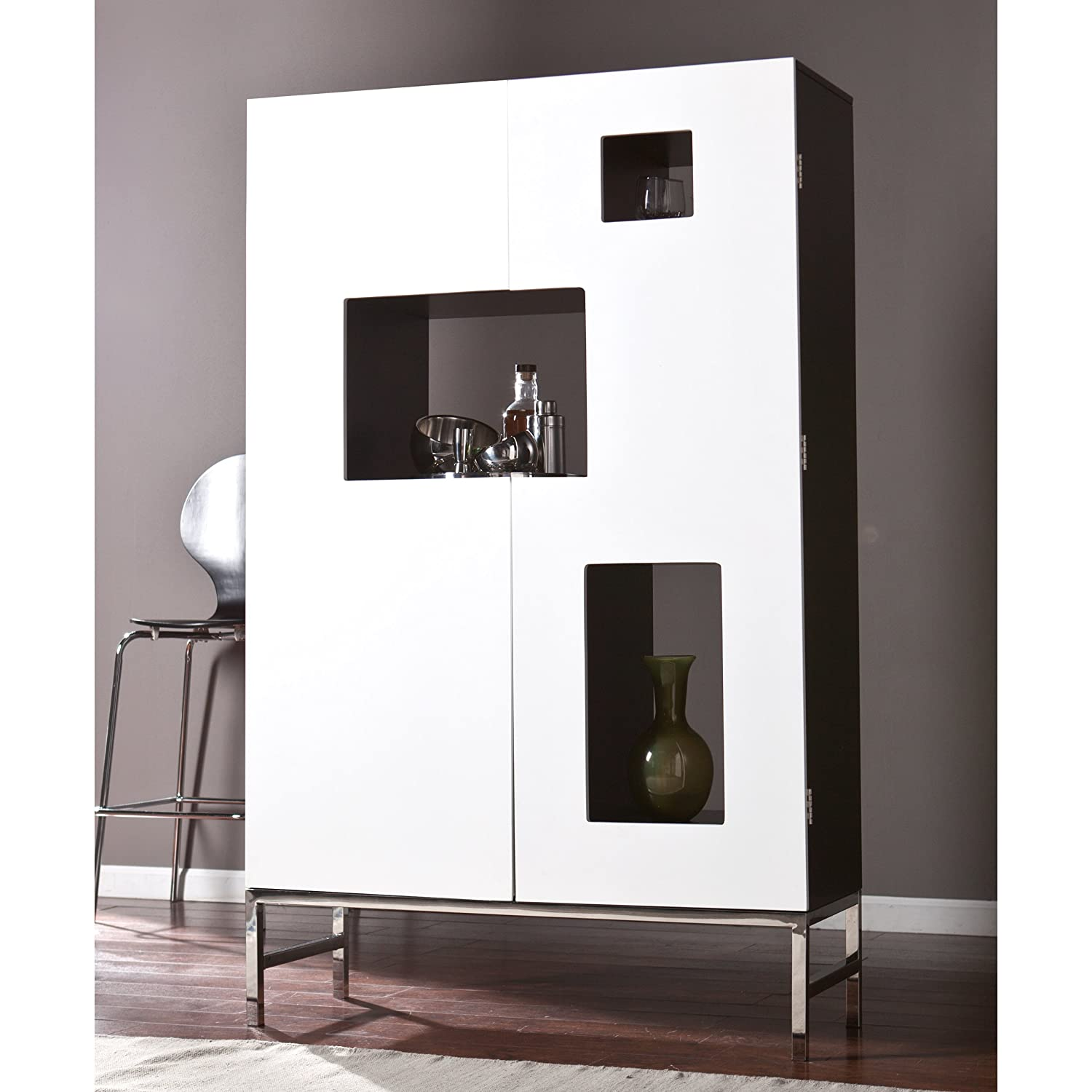 Delightful Amazon.com: Southern Enterprises Shadowbox Wine/Bar Cabinet, Black And  White Finish With Stainless Steel Legs
