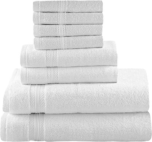 Set De Juego De Toalla Para Baño 100/% Algodon 8 Piezas Suave Gray