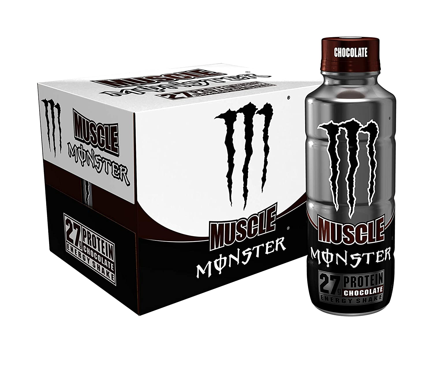 Muscle Monster Chocolate Energy Shake, Protein + Energy Drink, 15 ounce (Pack of 12)