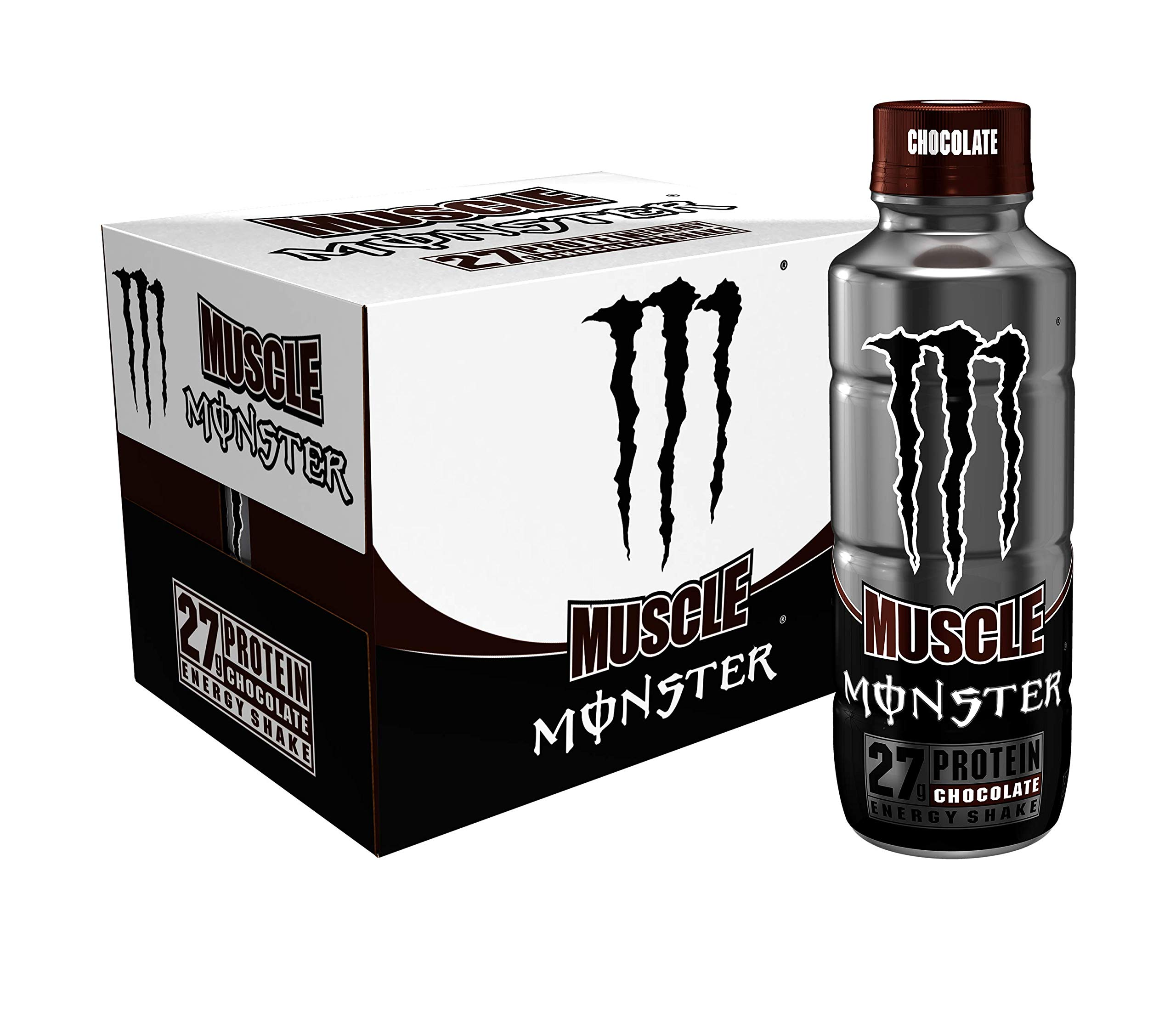 Muscle Monster Chocolate Energy Shake, Protein + Energy Drink, 15 ounce (Pack of 12) by Monster Energy