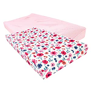 Touched by Nature Unisex Baby Organic Cotton Changing Pad Cover, Garden Floral, One Size