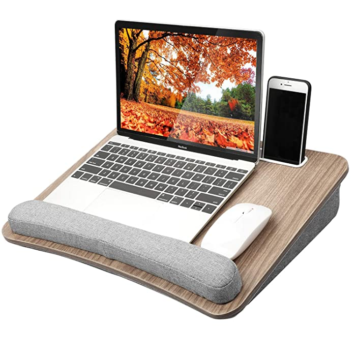 HUANUO Lap Laptop Desk - Portable Lap Desk with Pillow Cushion, Fits up to 15.6 inch Laptop, with Anti-Slip Strip & Storage Function for Home Office Students Use as Computer Laptop Stand, Book Tablet