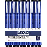 Mincho Set of 10 Black Micro-Pen Fineliner Pens, Calligraphy Tip Nibs Archival Ink Micron Pen - Artist Illustration, Technical Drawing, Office Documents, Sketching Drawing Comic Manga Writing