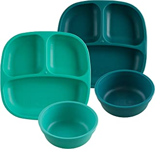 product image for Re-Play Made in USA 4pk Starter Dining Set of 2 Divided Plates with 2 Matching Bowls in Aqua and Teal. Made from Eco Friendly Heavyweight Recycled Milk Jugs - Virtually Indestructible!