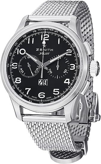 Zenith hombre 0324104010.21 M Piloto grande fecha especial pantalla analógica Swiss automático plateado reloj