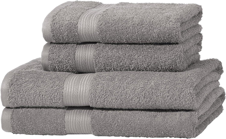AmazonBasics - Juego de toallas (colores resistentes, 2 toallas de baño y 2 toallas de manos), color gris