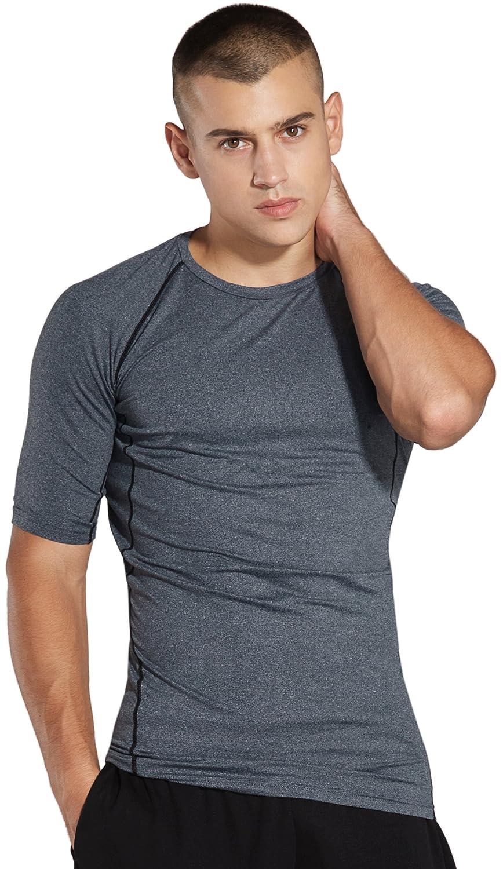 KomPrexx Maglietta Compressione Uomo Manica Corta Fitness Gym Workout T-Shirt