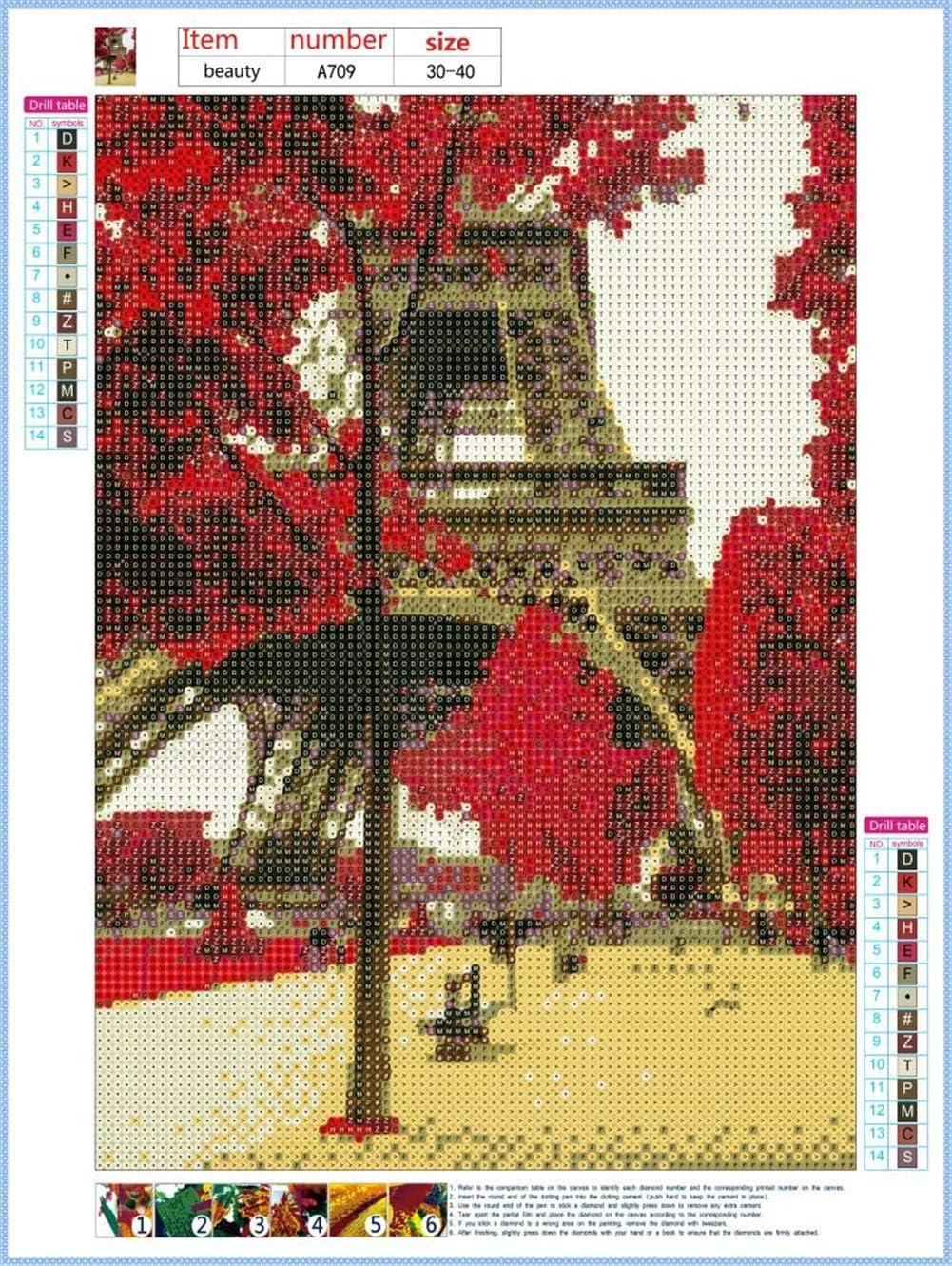 Tableau Decoration Murale Salon la Tour Eiffel 30X40cm Peinture en Diamant 5D DIY Diamant Peinture Kits pour Adultes Strass Broderie Diamant Art Broderie Diamant Kit Complet