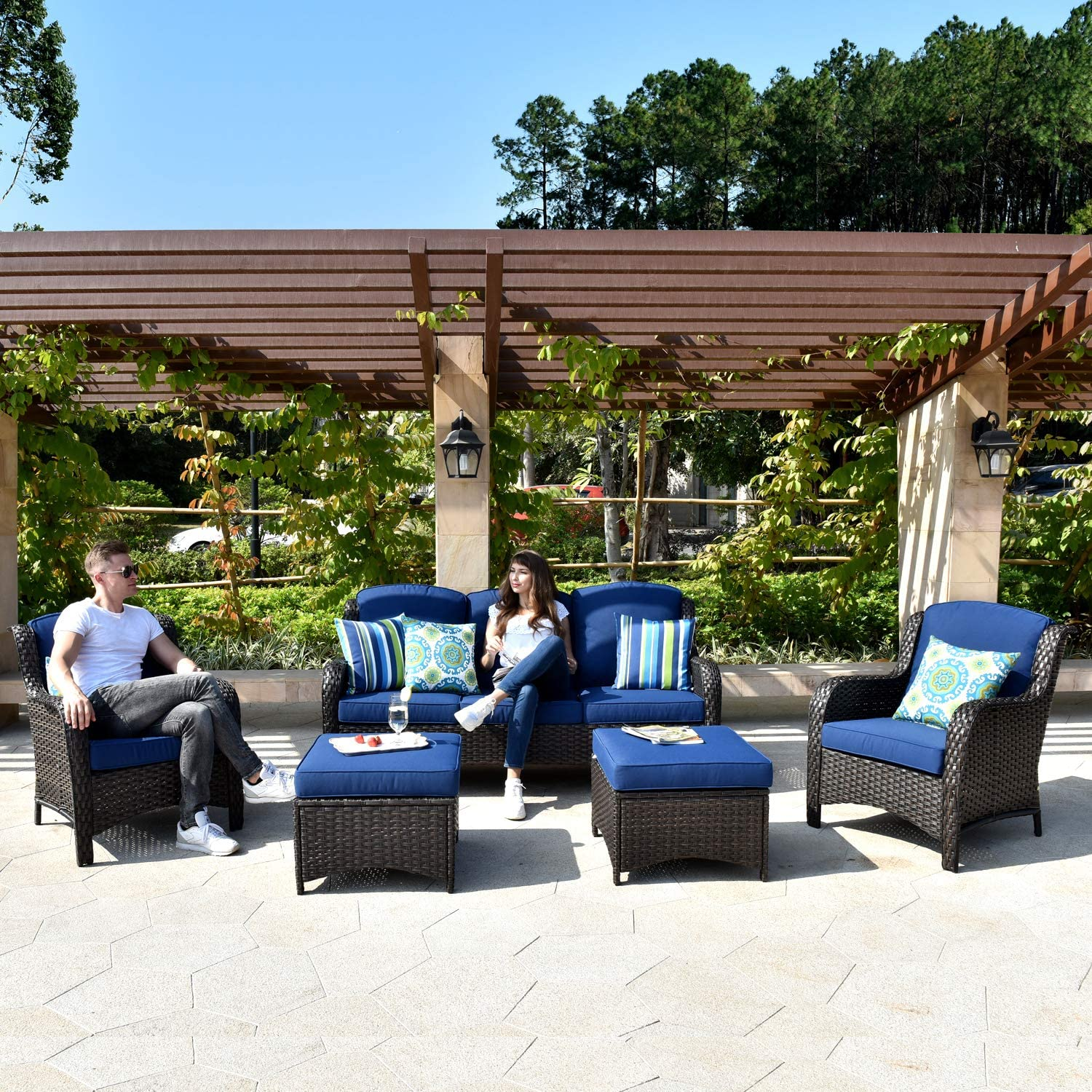 XIZZI Patio Furniture Sets Clearance,Outdoor Furniture,All Weather Wicker Patio Set with High Back Sofa(5PCS, Navy Blue)