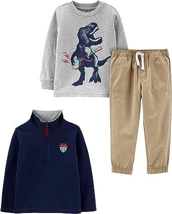 Simple Joys by Carter's 3-Piece Fleece Jacket, Long-Sleeve Shirt, and Woven Pant Playwear Set Bebé-Niños, Pack de 3