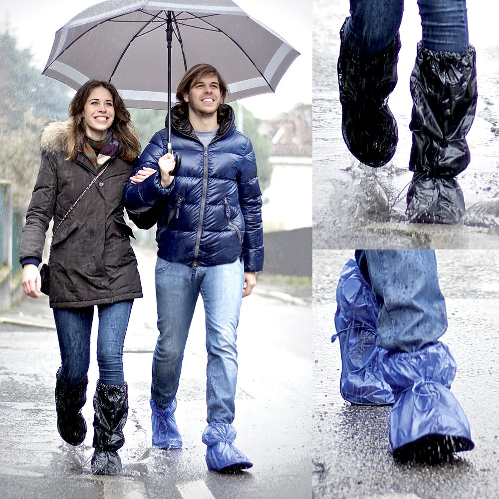 long model Black//Blue sturdy and reusable with anti-slip reinforced sole Waterproof shoe covers in PVC overshoes protector against rain and mud