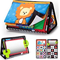teytoy Tummy Time Floor Mirror with Crinkle Cloth Book and Teethers, High Contrast Black and White Baby Toys…