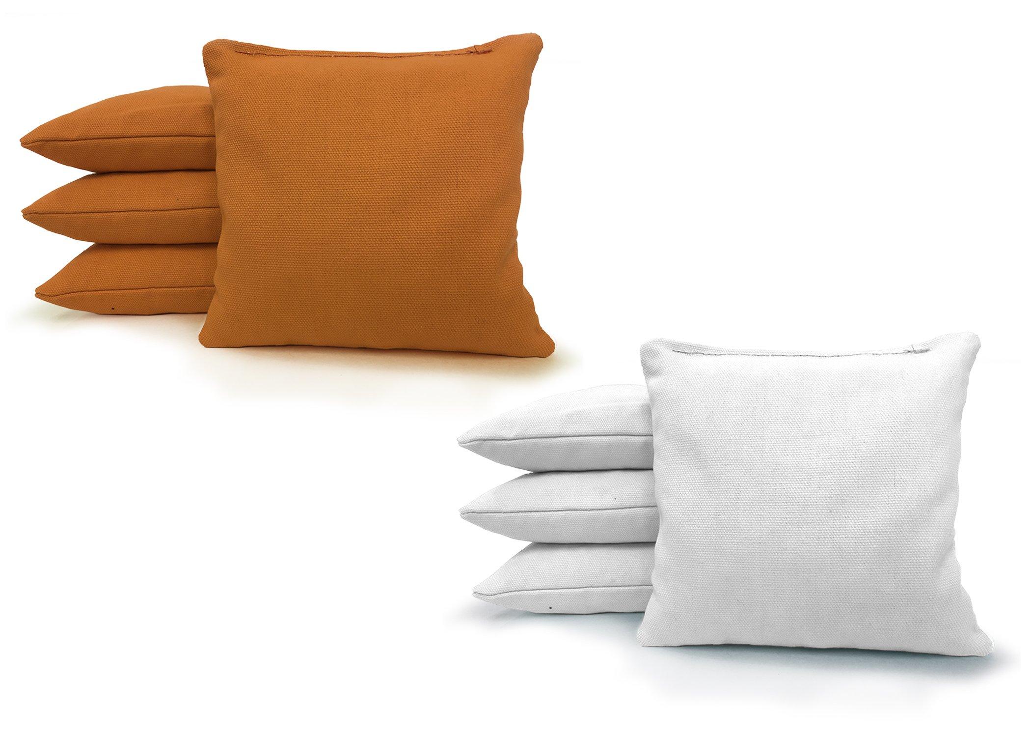 Johnson Enterprises, LLC 8 Standard Corn Filled Regulation Duck Cloth Cornhole Bags! 17 Colors (You Pick)!! (Gold/White)