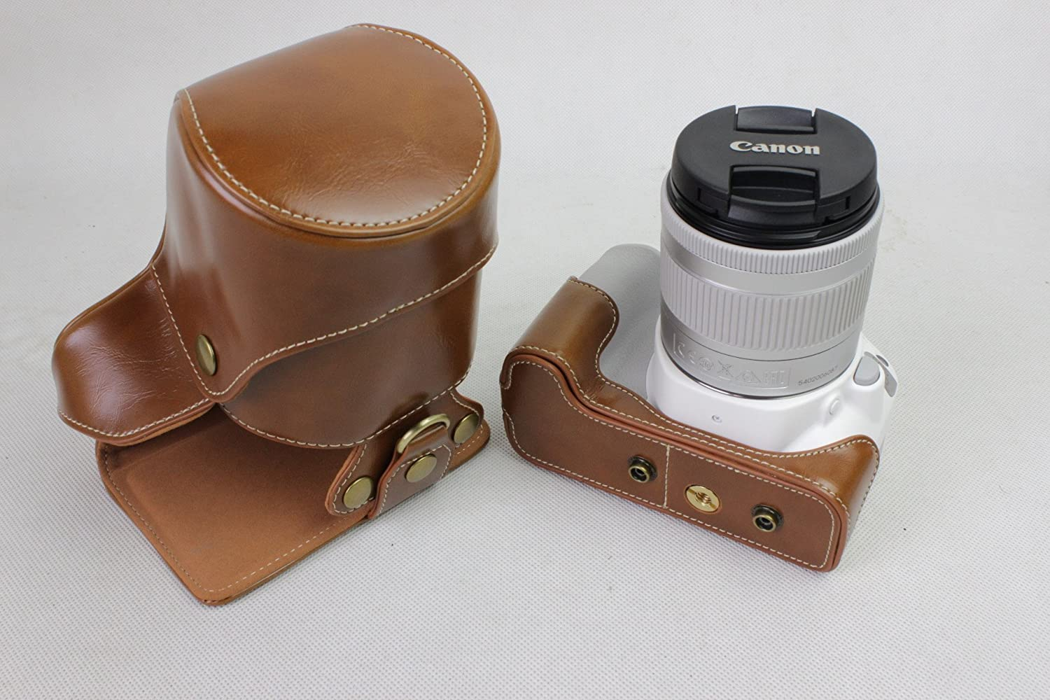 BolinUS Handmade PU Leather FullBody Camera Case Bag Cover for Canon EOS 200D with 18-55mm lens Bottom Opening Version Coffee Neck Strap Mini Storage Bag EOS 200D Case
