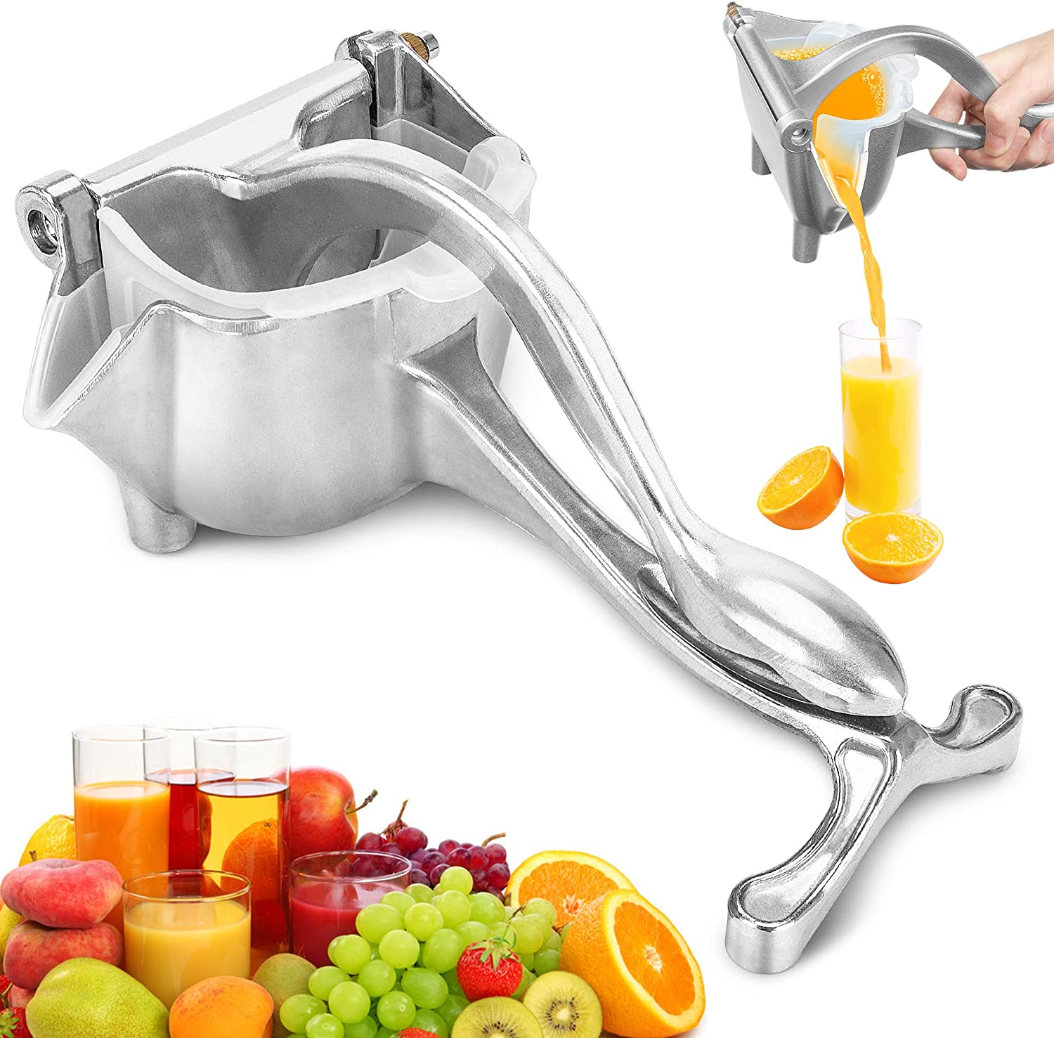 Manual Juicer, ENLOY Aluminum Alloy Heavy Duty Lemon Orange Squeezer, Easy Use Hand Press Fruit Juicer Citrus Extractor Tool