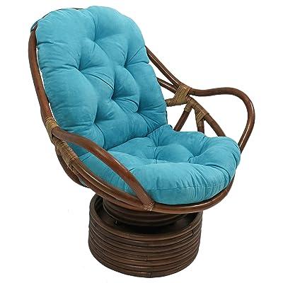 "Blazing Needles Solid Microsuede Swivel Rocker Chair Cushion, 48"" x 24"", Aqua Blue: Home & Kitchen"