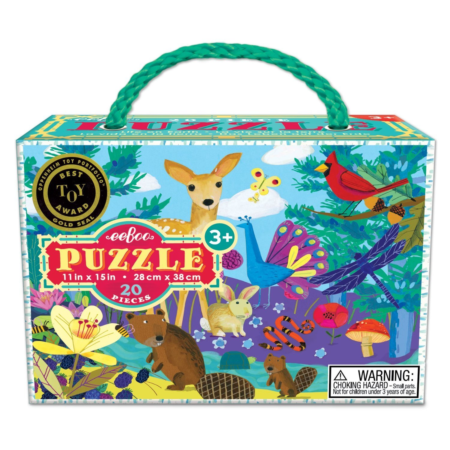 20 Jumbo Piece Puzzles, Illustrations by Melissa Sweet and Kevin Hawkes, Life on Earth eeBoo PZLOE2
