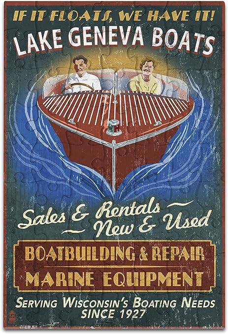 Amazon.com: Lago de ginebra, Wisconsin – Barco shop Vintage ...