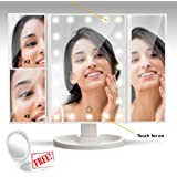 Illuminated Makeup Mirror | LED Lights | Magnifying | Vanity Beauty Cosmetic Use | Light Travel Trifold Professional Folding Design | Free Portable Pocket Mirror | Tabletop Bathroom Desk Use | White