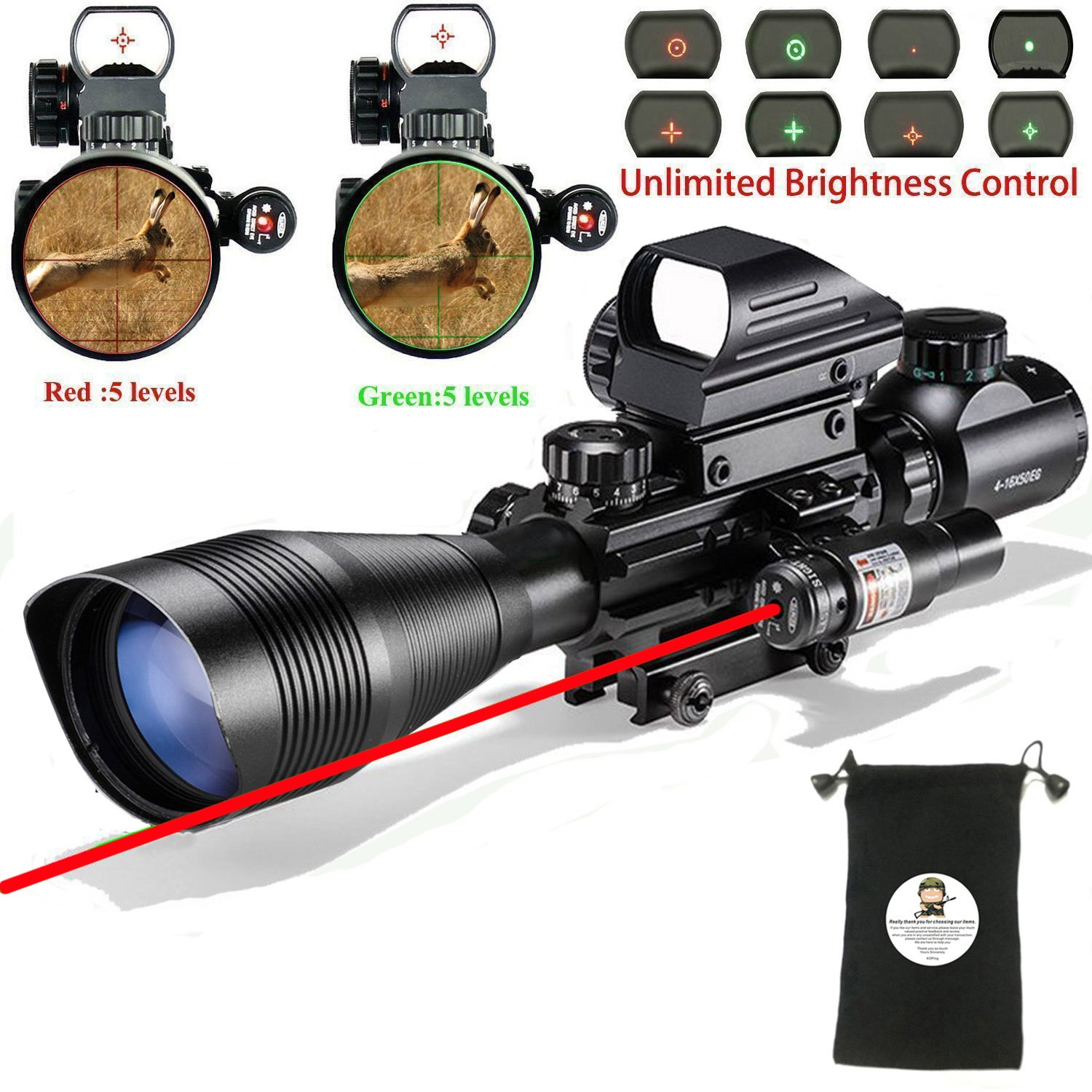 AR15 Tactical Rifle Scope C4-12x50EG 3 in 1 Hunting Dual Illuminated with Red Laser Sight and 4 Holographic Reticle Red and Green Dot Sight for 22&11mm Weaver/Picatinny Rail Mount (4-12x50EG)