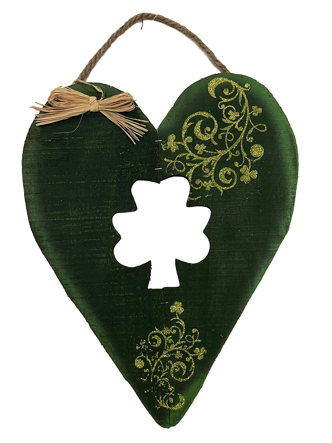 Patricks Day Welcome Sign with Raffia Bow 18 Nantucket H Green Shamrock Country Heart Slatted Wood St