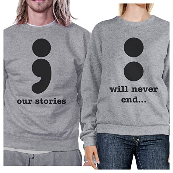f736c01702 365 Printing Our Stories Never End Grey Matching Couple Sweatshirts Round  Neck: Amazon.co.uk: Clothing