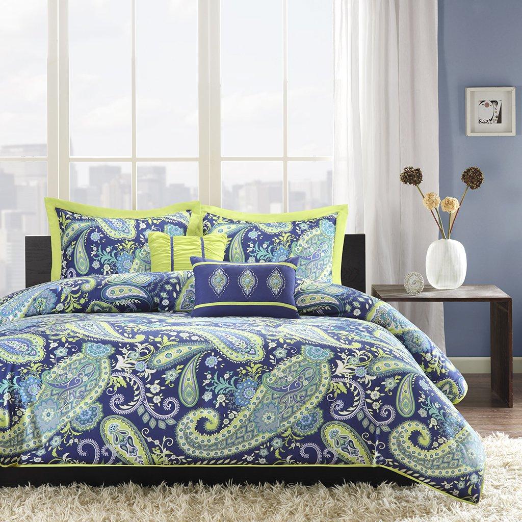 Intelligent Design Melissa Teen Girls Duvet Cover Set Twin/Twin XL Size - Blue Green, Paisley – 4 Piece Duvet Covers Bedding Sets – Peach Skin Microfiber Girls Bedding Bed Sets