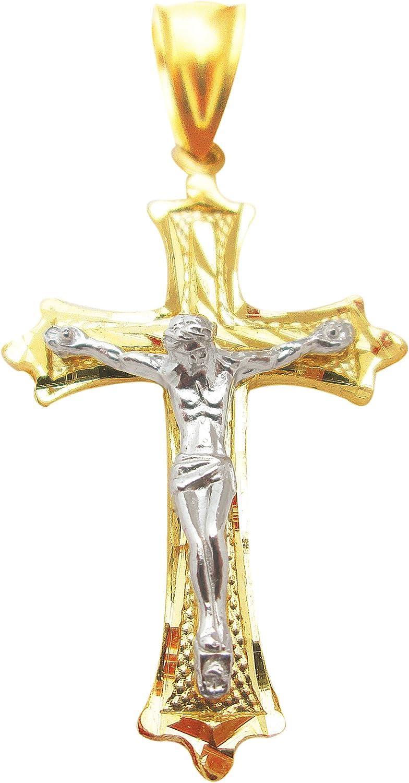 AMZ Jewelry Mens 10k Two Tone Gold Cross Pendant Diamond Cut