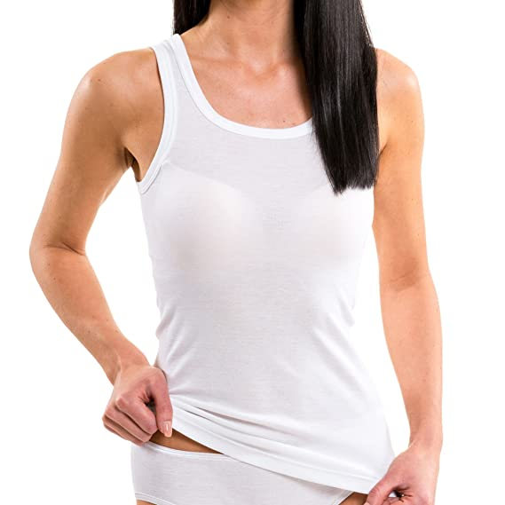 hechas de algod/ón 100/% tank top en talla grande HERMKO 1325 Kit de tres camisas interiores para mujer de diferentes colores