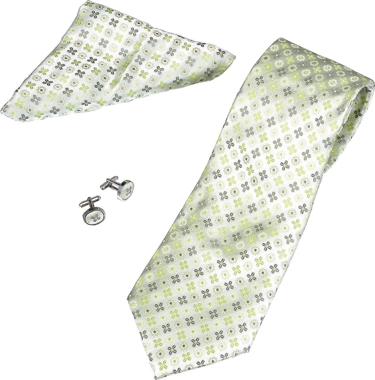 Cufflinks and Pocket Square Gift Set SuperCuffs Mens Flower Pattern Tie