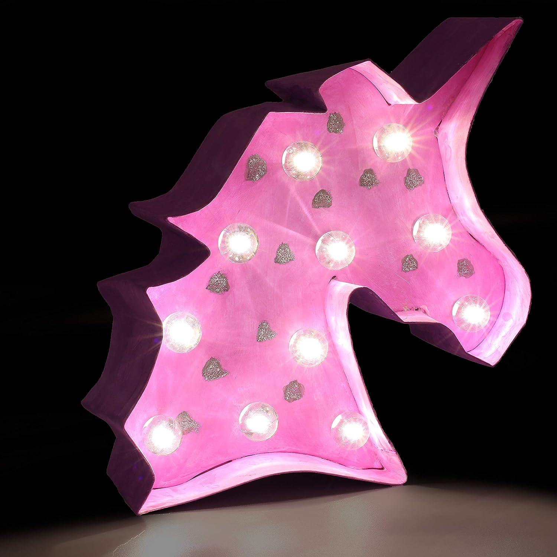 KreativeKraft Set Lampe LED Einhorn Accessories Dekoration Schlafzimmer f/ür M/ädchen